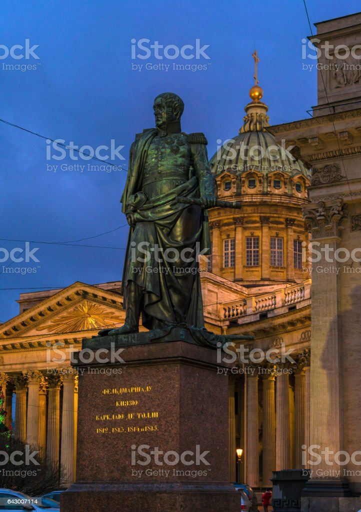 Barklay de Tolli statue (1837) and  Kazan cathedral stock photo