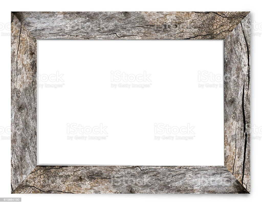 Bark's Natural Wooden Picture Frame stock photo