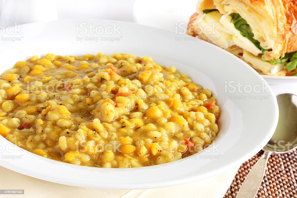 Barley and pea soup stock photo