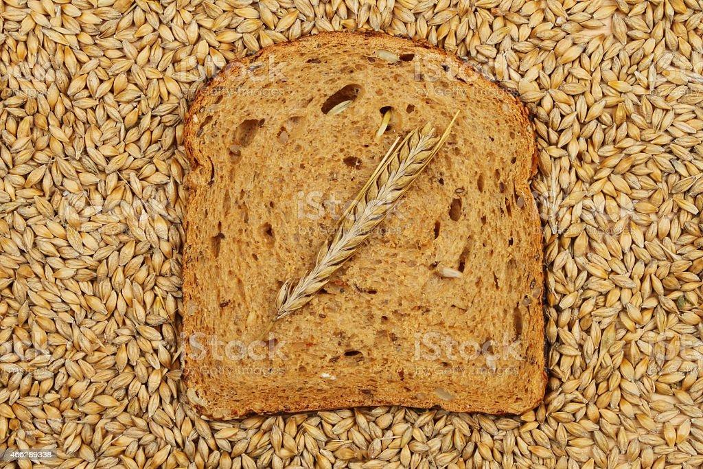 Barley on bread stock photo