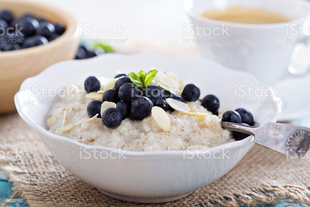 Barley porridge in a bowl stock photo