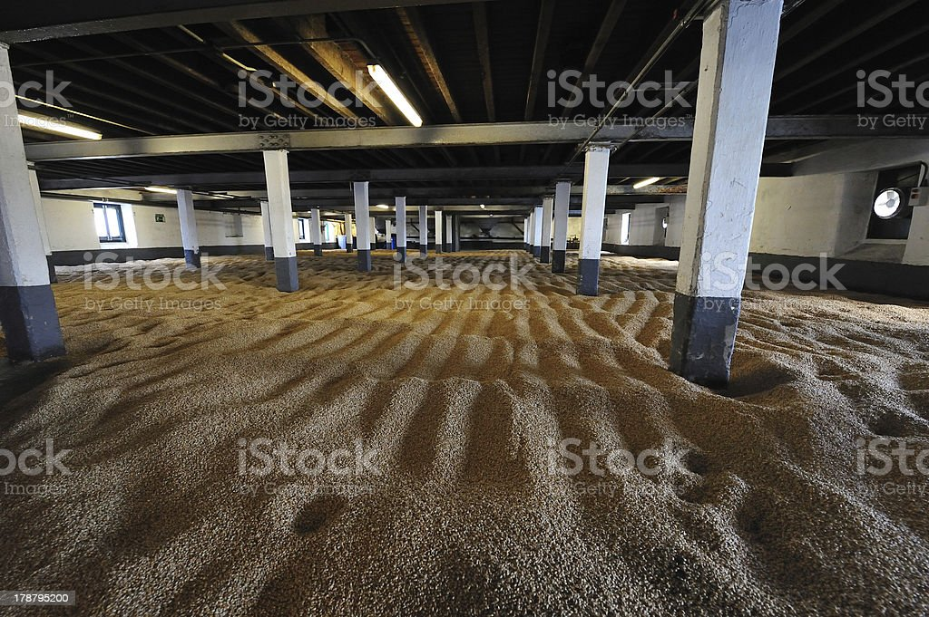 Barley Room at Whiskey Distillery stock photo