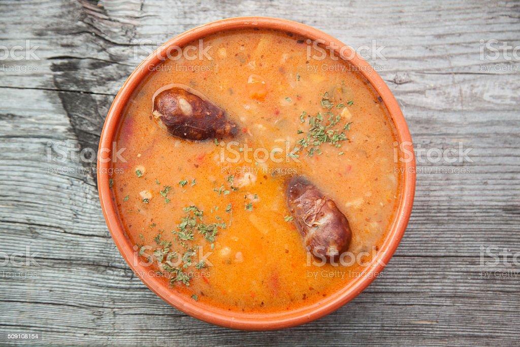 barley soup with pork sausage stock photo