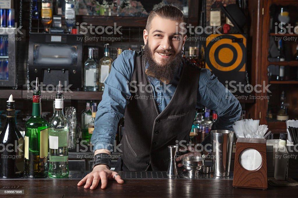Barman at work. stock photo