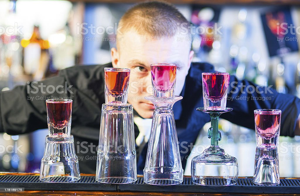 barman making cocktail drinks royalty-free stock photo