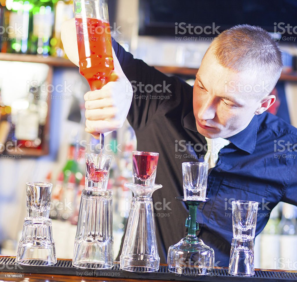 barman making cocktail drinks royalty-free stock photo