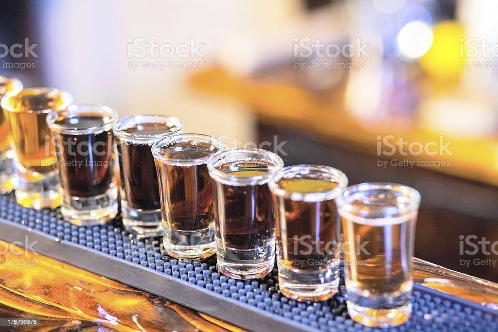 barman making  drink shots stock photo