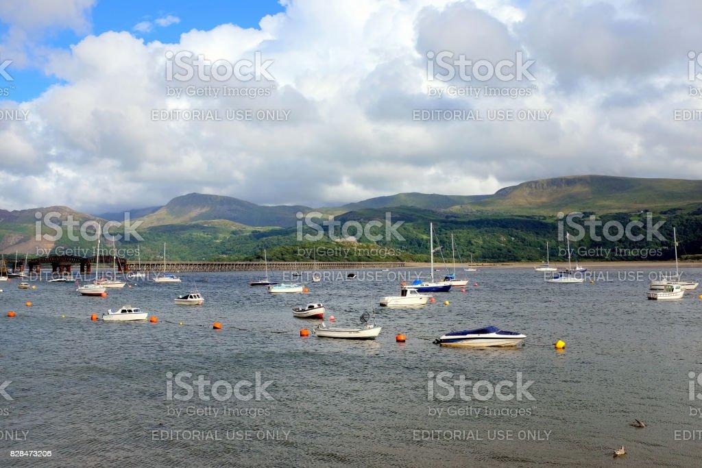 Barmouth harbor, Wales. stock photo