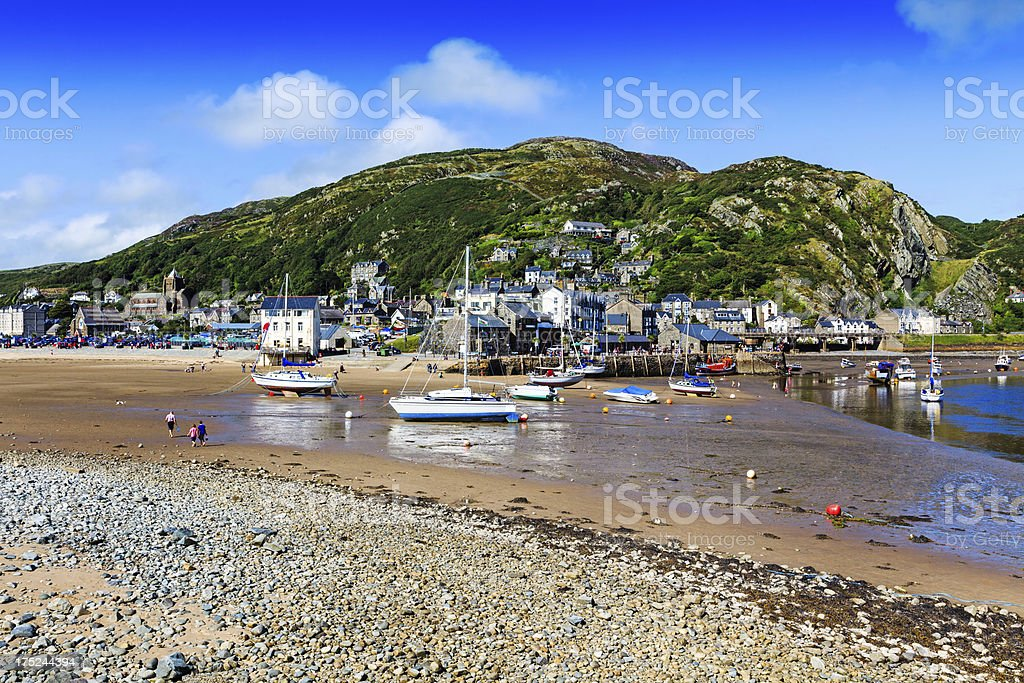 Barmouth harbour at low tide, Gwynedd, West Wales stock photo