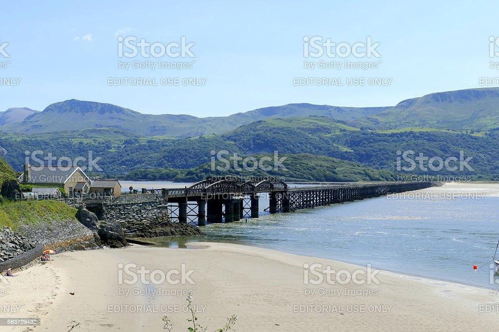 Barmouth rail bridge, Wales. stock photo