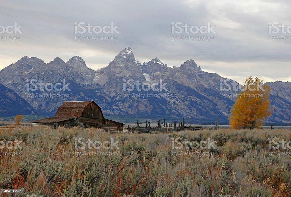 Barn and Grand Teton, Rocky Mountains, Wyoming USA stock photo