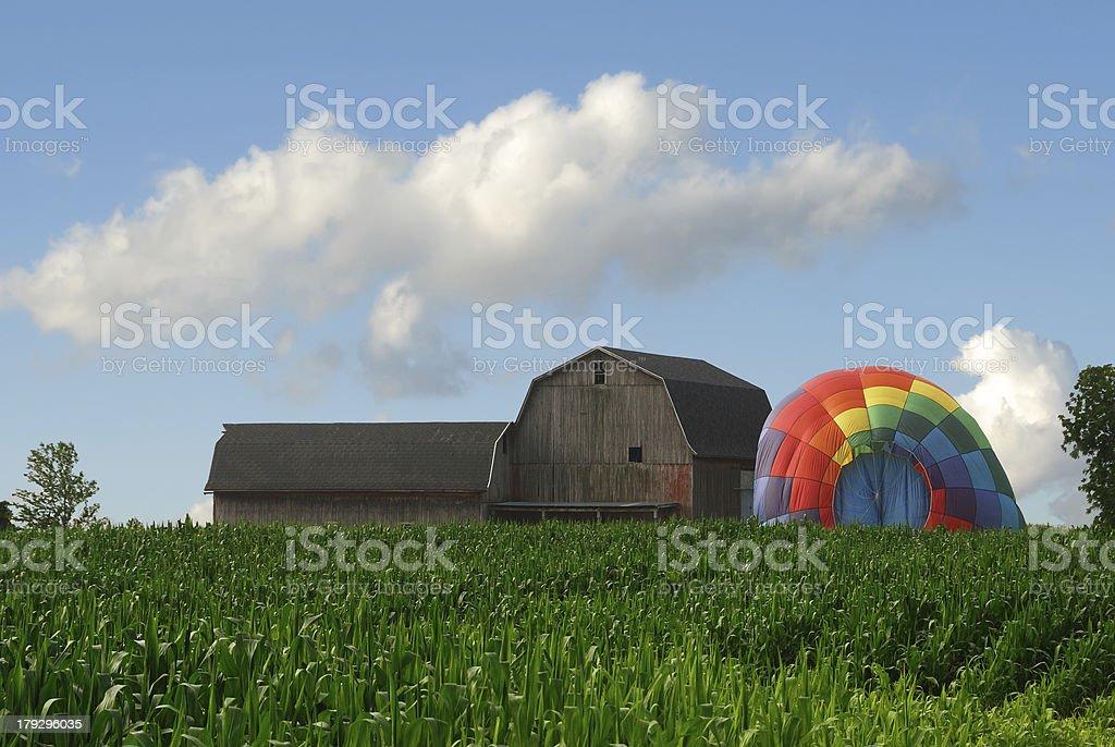 Barn and Hot Air Balloon stock photo