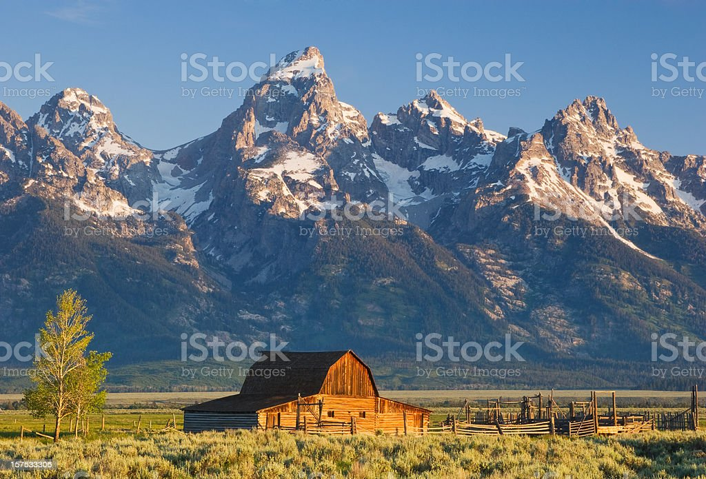 Barn and Mountains stock photo