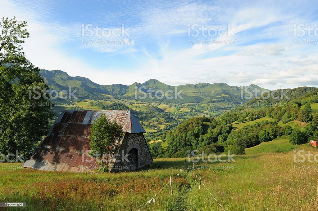 barn and moutains stock photo