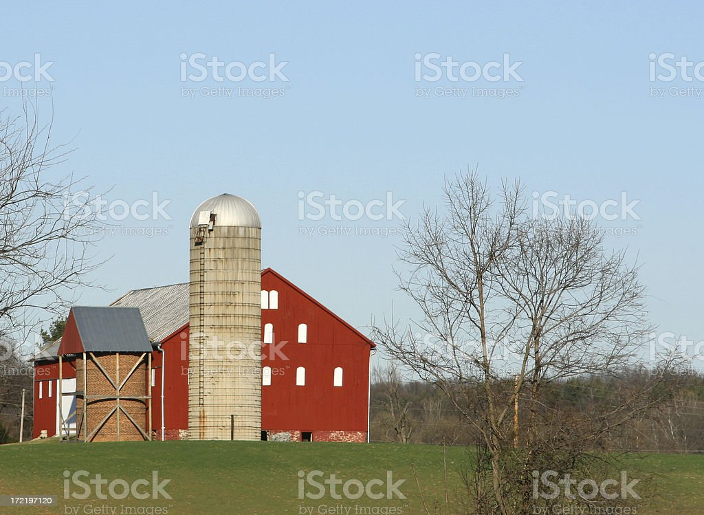 barn and silo royalty-free stock photo