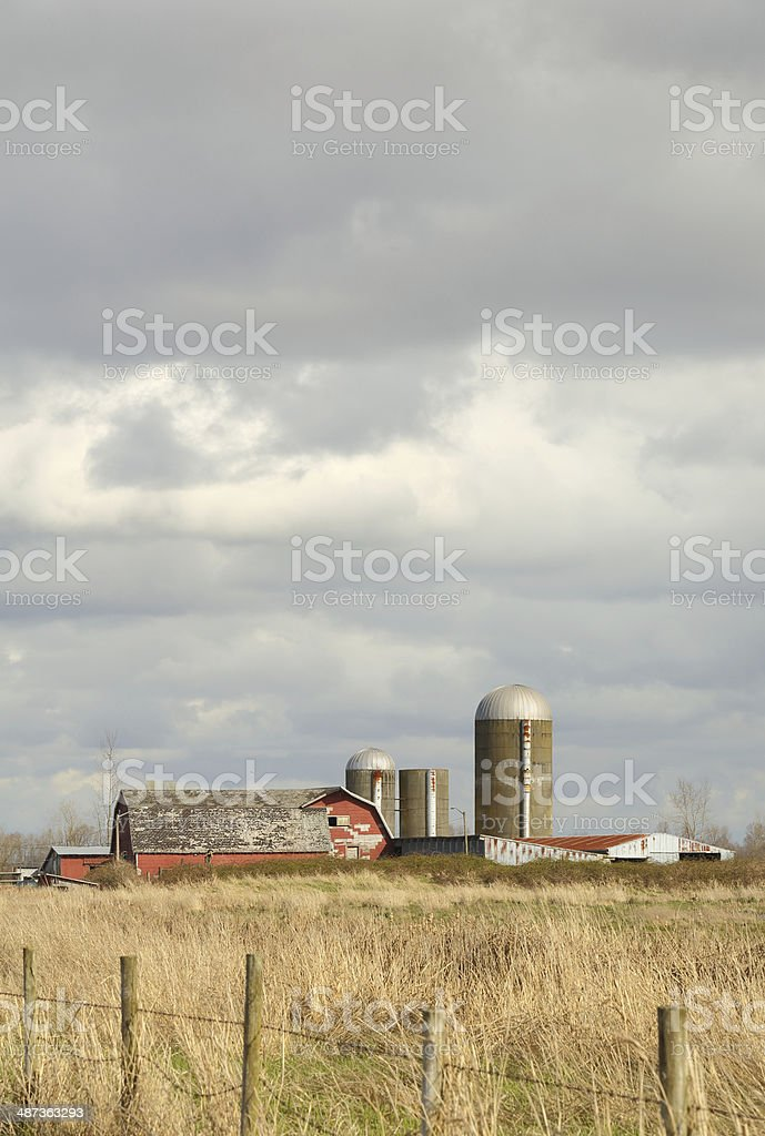 Barn and Silo, Washington State, USA royalty-free stock photo
