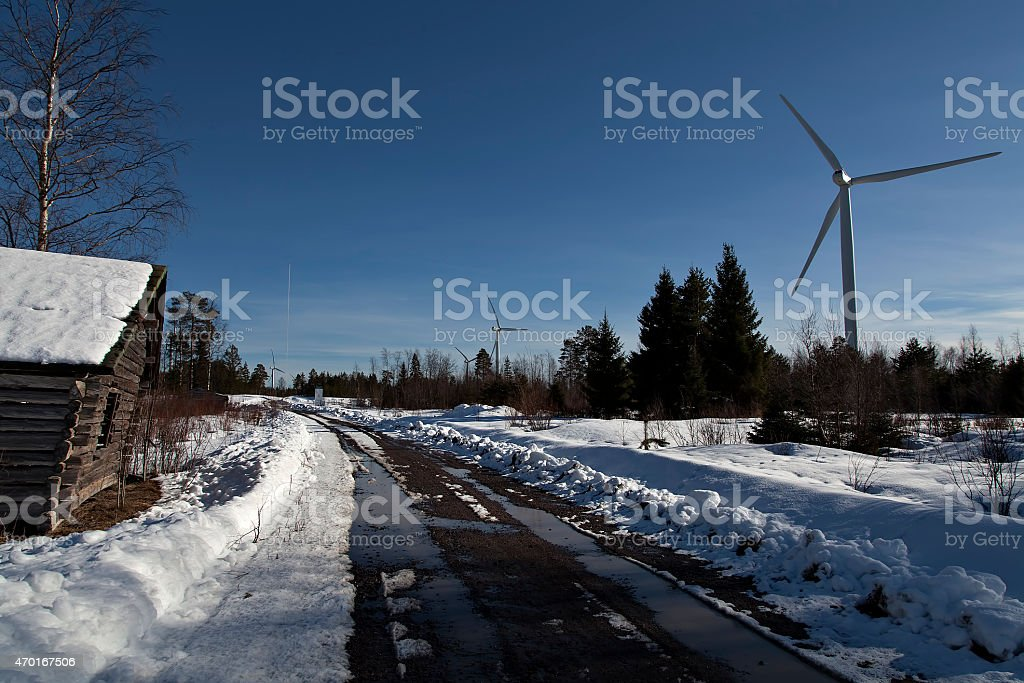Barn and wind turbines royalty-free stock photo