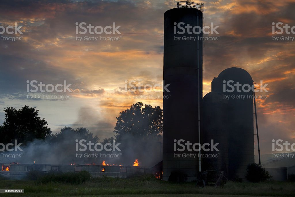 Barn Fire At Sunset royalty-free stock photo