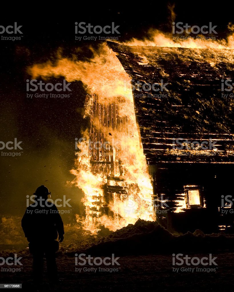 Barn Fire stock photo