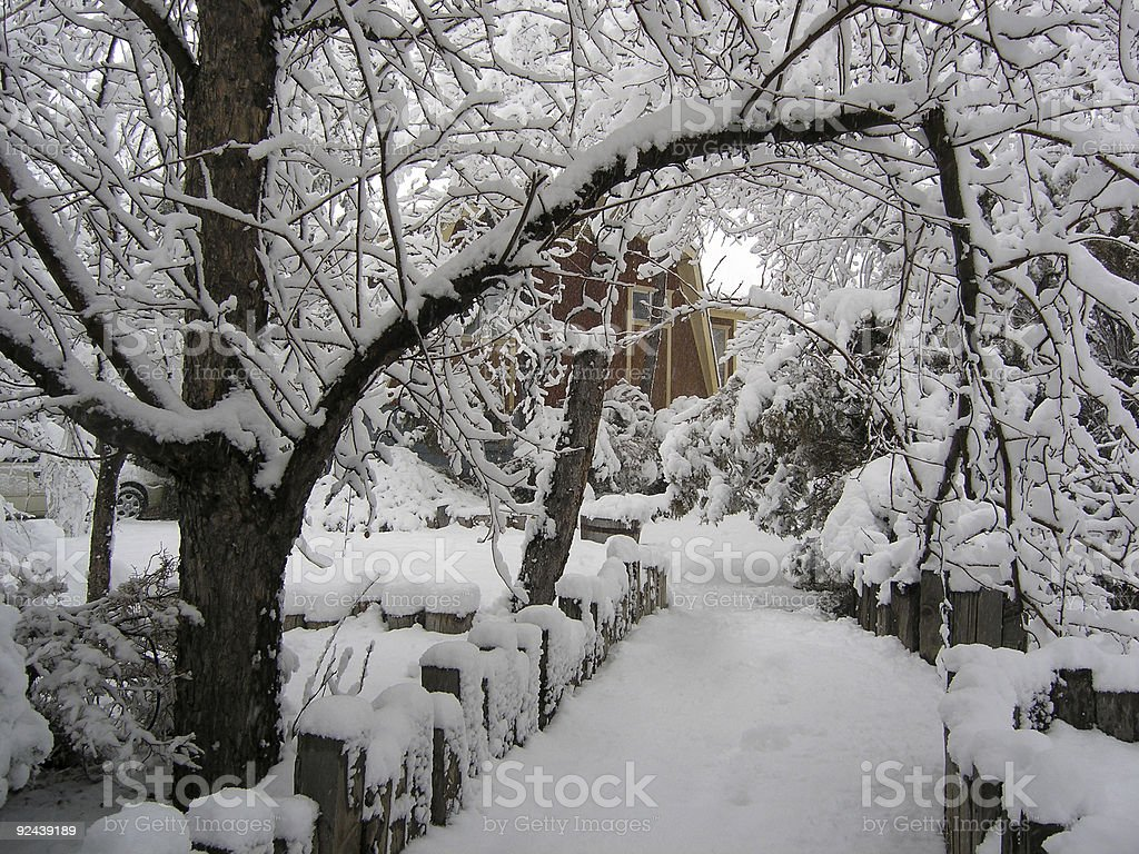 Barn house in snow stock photo