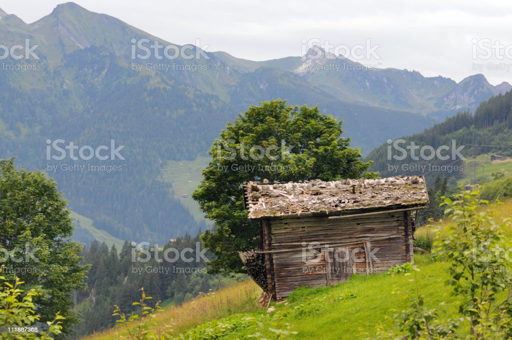 Barn in a meadow - Zillertal (Austria) royalty-free stock photo