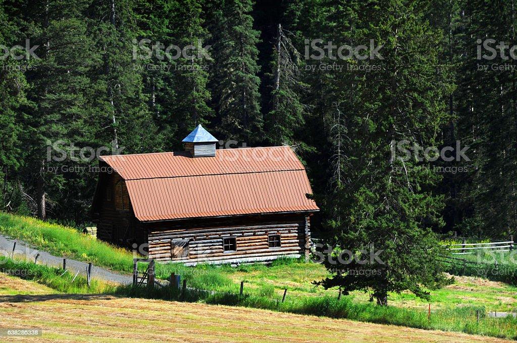 Barn in Absaroka Foothills stock photo