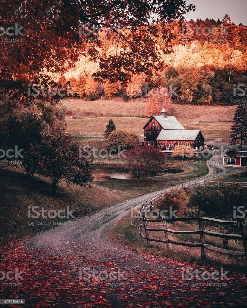 Barn in autumn stock photo