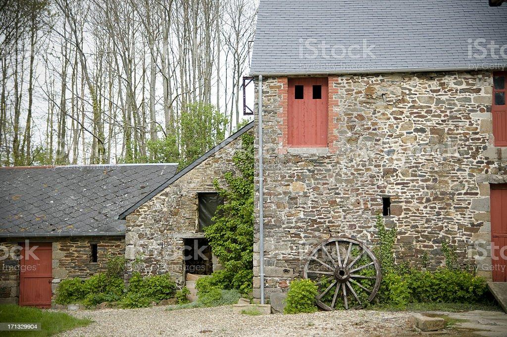 Barn in Bretagne stock photo