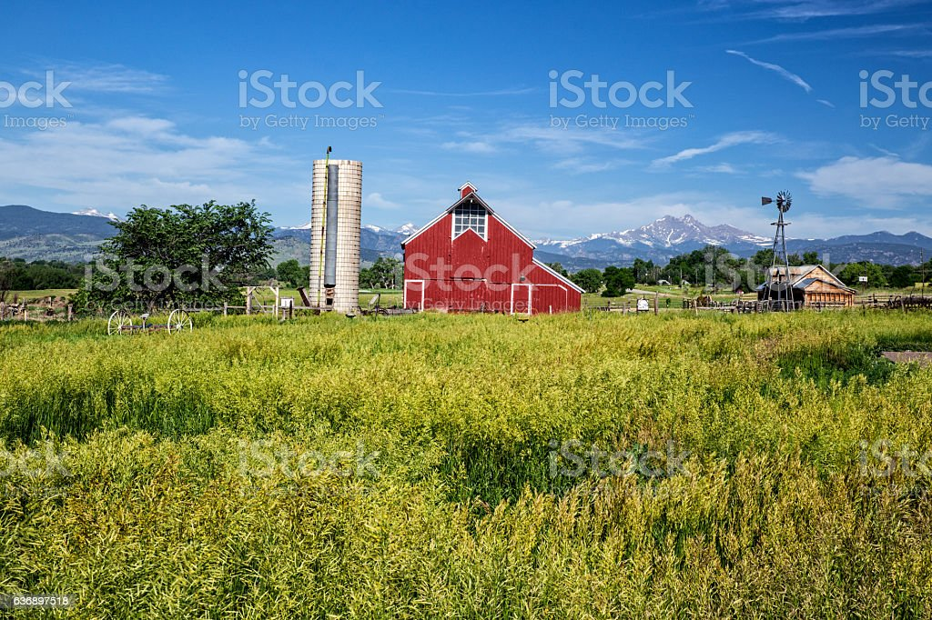 Barn in Colorado with Silo stock photo