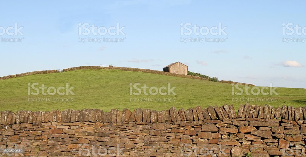 Barn in field stock photo