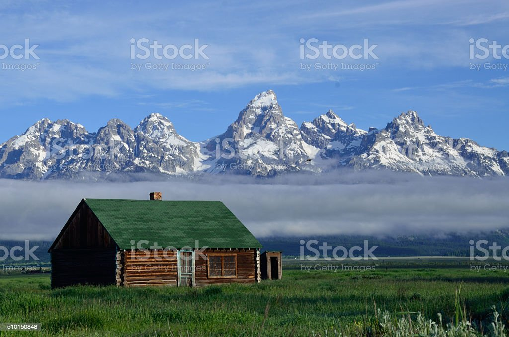 Barn in Midst of the Tetons stock photo