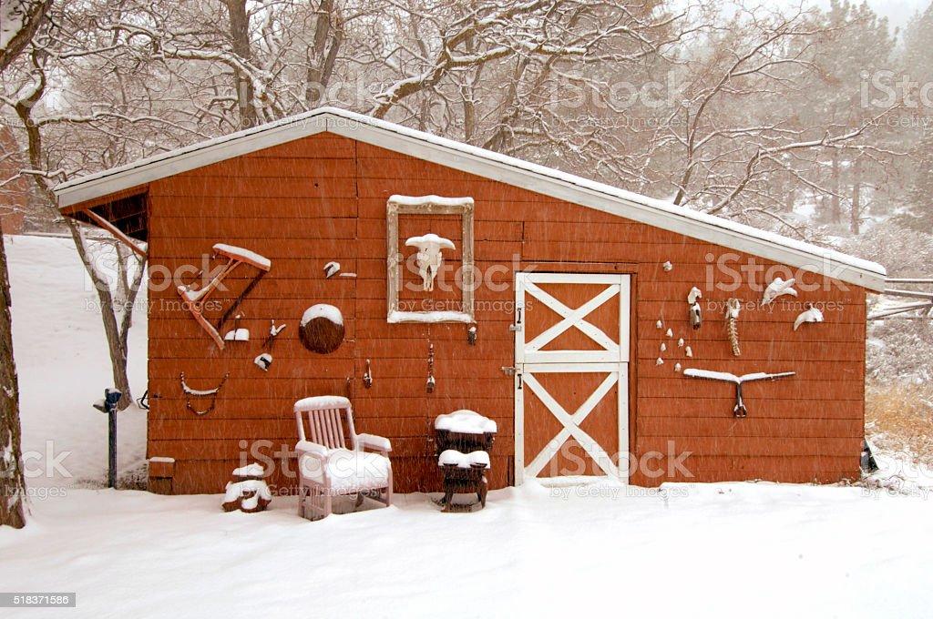 Barn in Snow in Genoa, Nevada stock photo
