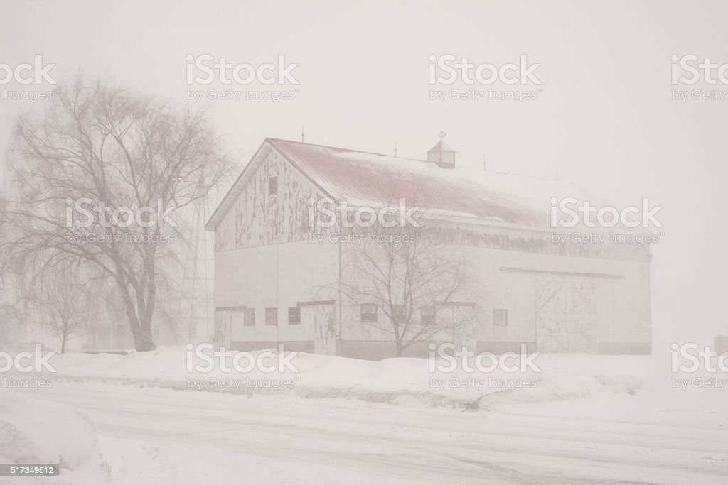 Barn in Snow stock photo