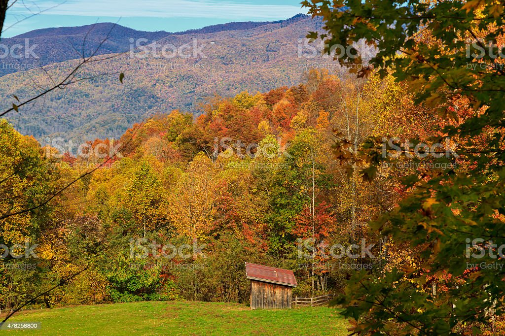 Barn in the Mountains stock photo