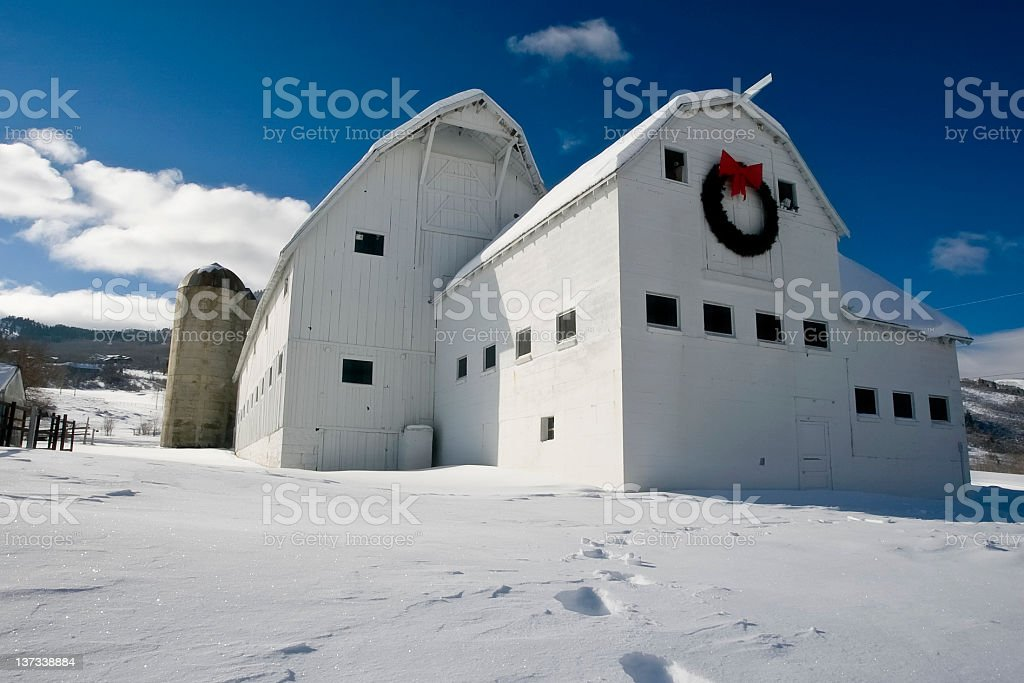 Barn in the Snow stock photo