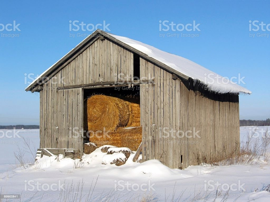 Barn in winter royalty-free stock photo
