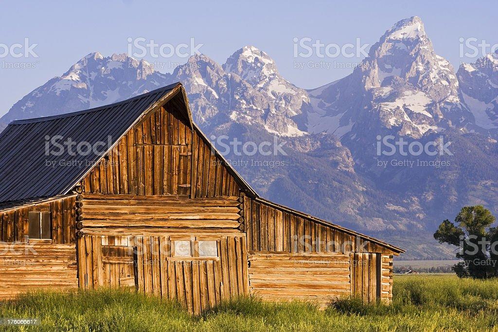 Barn of Mormon Row in Grand Teton NP, Wyoming, USA royalty-free stock photo