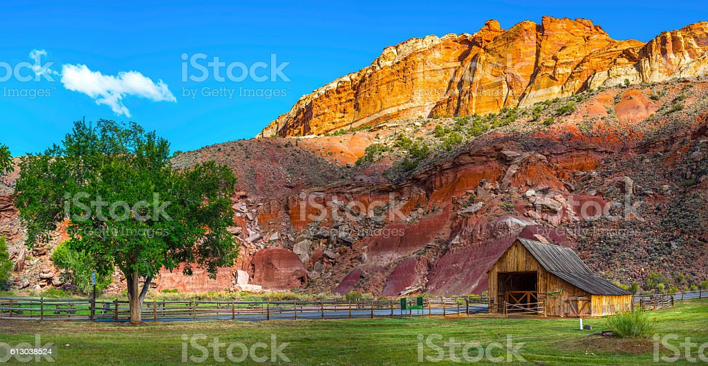 Barn of the Gifford homestead in Capitol Reef Panorama stock photo
