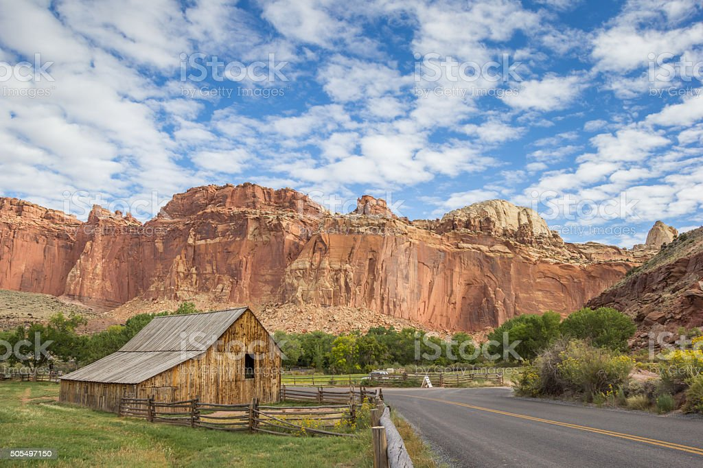 Barn of the Gifford homestead in Capitol Reef stock photo