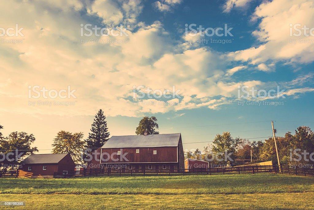 Barn on a farm in rural Adams County, Pennsylvania. stock photo