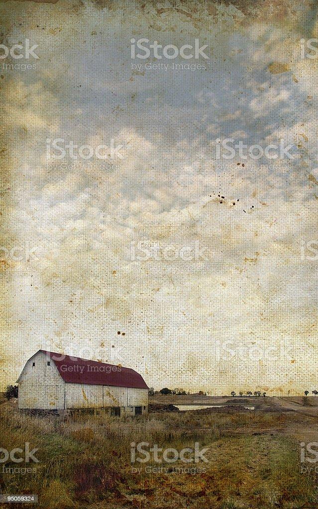 Barn on a grunge background stock photo