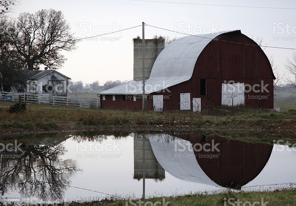 barn reflection royalty-free stock photo