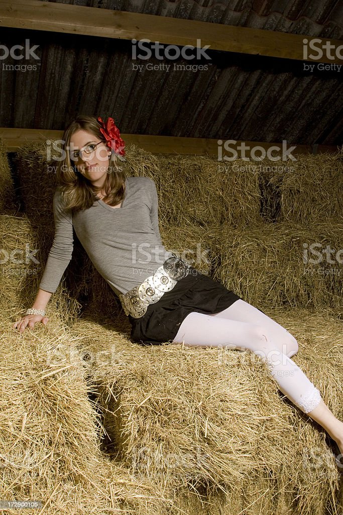 Barn with a girl stock photo