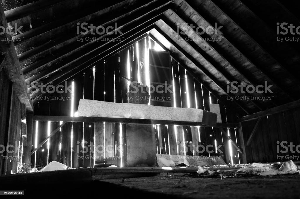 Barn with Light Shining Through stock photo