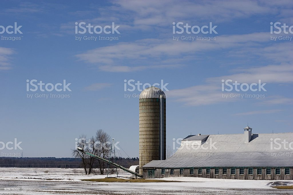 Barn with silo on a snow covered field royalty-free stock photo