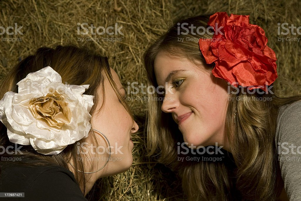 Barn with two girls facing eachother stock photo