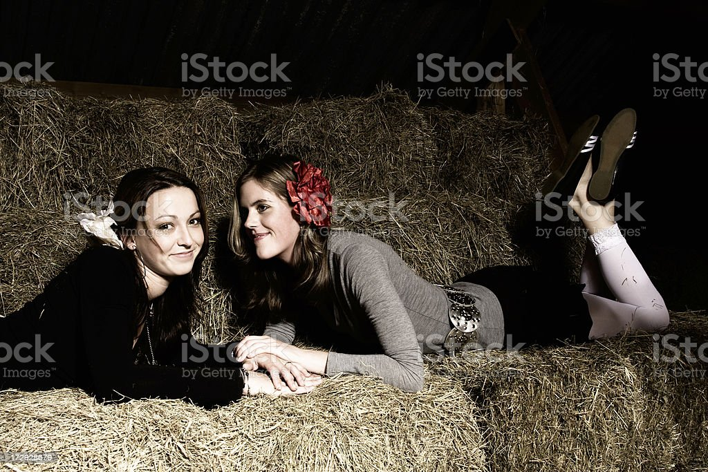 Barn with two girls royalty-free stock photo