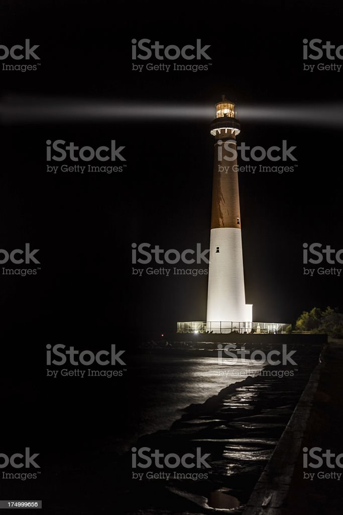 Barnegat Lighthouse on a Dark and Stormy Night stock photo