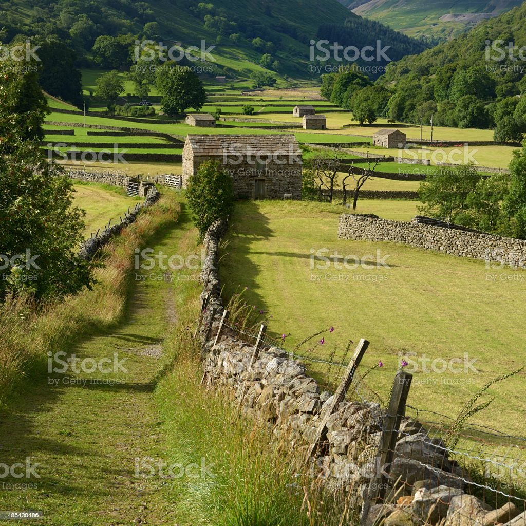 Barns in Swaledale stock photo