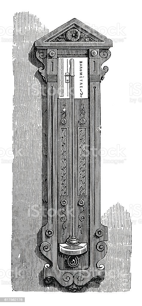 Barometer on a stand (antique engraving) stock photo